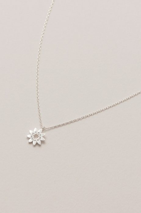 Estella Bartlett Modern Flower Silver Plated Necklace With CZ EB3433C