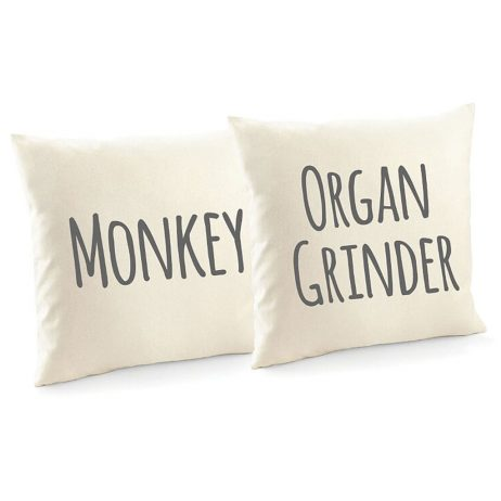 Monkey and Organ Grinder Fun Cotton Cushion Covers and Decorative Throw Pillow Covers - 2 Pack