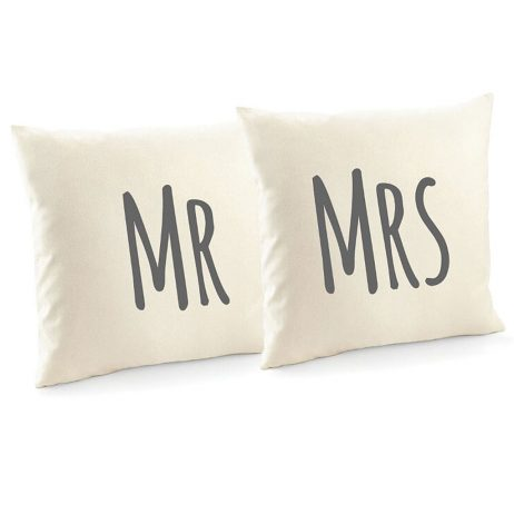 Mr and Mrs Cotton Canvas Cushion Cover and Decorative Throw Pillow Cover - 2 Pack