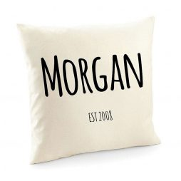 Personalized Name and Date Cotton Cushion Cover | Decorative Home Throw Pillow Cover