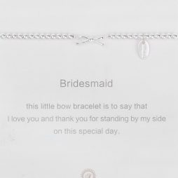 Symbology Bridesmaid Silver Bow Sentiment Bracelet