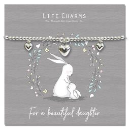 Life Charm For My Beautiful Daughter Silver Bracelet
