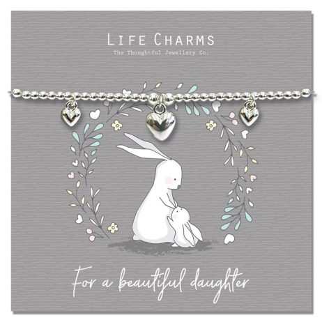 Life Charms Rosey Rabbit For My Beautiful Daughter Silver Bracelet