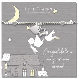 Life Charms Rosey Rabbit Congratualtions on Your New Arrival Silver Bracelet