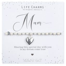 Life Charms Mum of The Bride Silver Heart Bracelet WC03