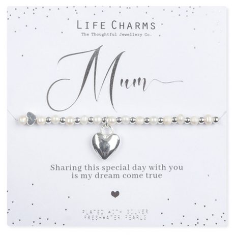 Life Charms Mum of The Bride Silver Heart Bracelet