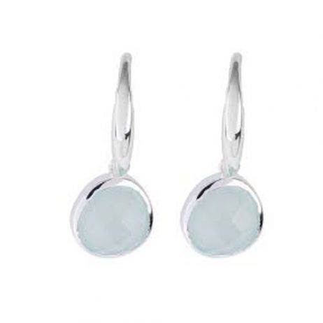 Stara London 5mm Drop Earrings Silver Plated Aqua Chalcedony