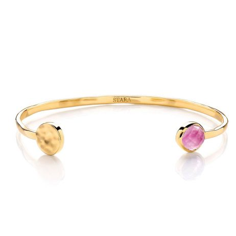 Stara London Semi-Precious Rose Quartz Stone Bracelet Open Bangle Gold Plated