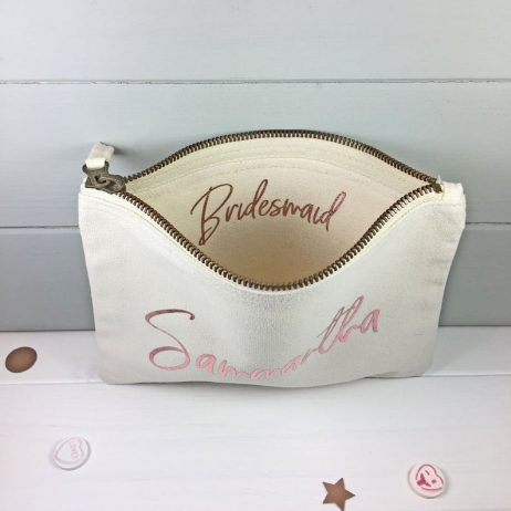 Personalised Bridesmaid Gift Makeup Bag, Cosmetic Bag
