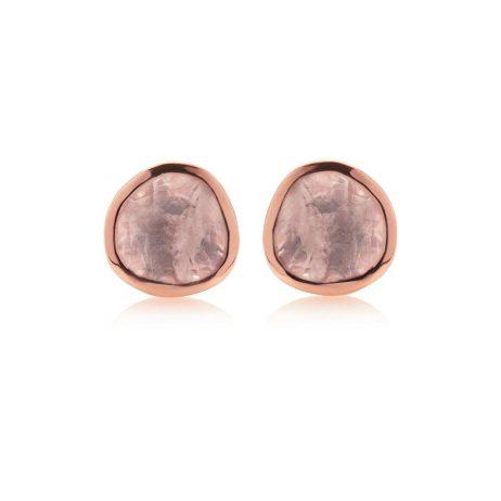 Stara London 5mm Stud Earrings Rose Gold Plated Rose Quartz