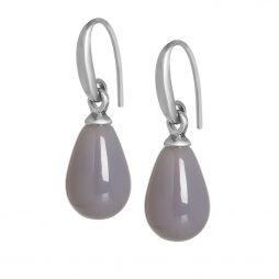 Sence Copenhagen Grey Agate Matt Silver Drop Earrings
