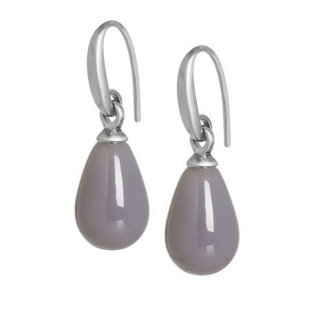Sence Copenhagen Grey Agate Matt Silver Drop Earrings