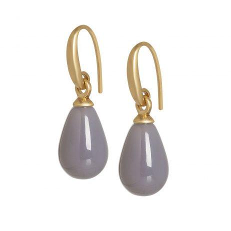 Sence Copenhagen Grey Agate Matt Gold Drop Earrings