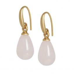 Sence Copenhagen Rose Quartz Matt Gold Drop Earrings