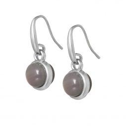 Sence Copenhagen Signature Grey Agate Worn Silver Drop Earrings