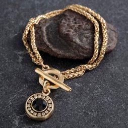 Danon Jewellery Louis the 14th Gold Bracelet Black Swarovski Crystals B3926GF