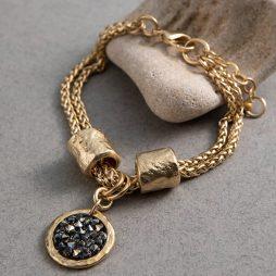 Danon Jewellery Latis Crystal Rock Gold Bracelet Black Crystal B3927GF