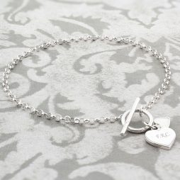 Personalised Initials Sterling Silver Hearts T-Bar Bracelet
