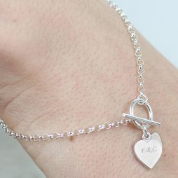 Personalised Initials Sterling Silver Hearts T-Bar Bracelet LLP010351