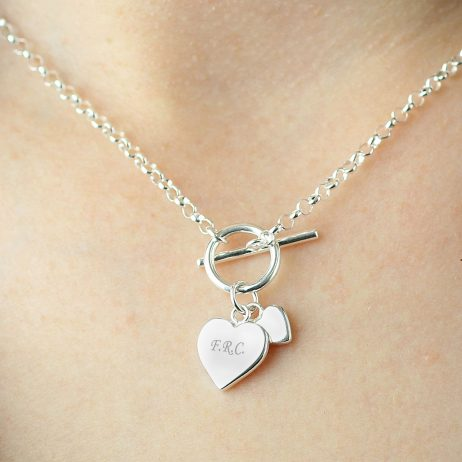 Personalised Initials Sterling Silver Hearts T-Bar Necklace