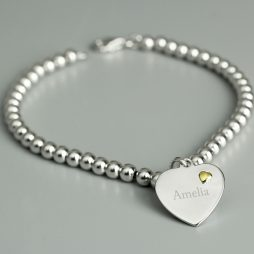 Personalised Name Sterling Silver and 9ct Gold Heart Bracelet
