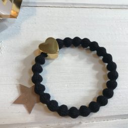 Lupe Heart Charm Stackable Hair Tie Bracelet - Black Gold