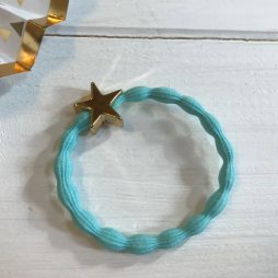 Lupe Star Charm Stackable Hair Tie Bracelet – Light Blue Gold