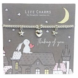Life Charm Thinking of You Rosey Rabbits Silver Heart Bracelet RR01