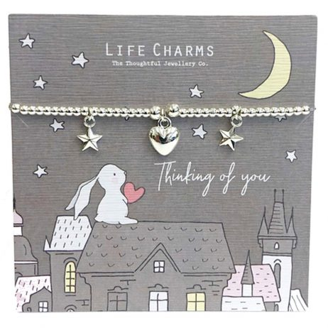 Life Charm Thinking of You Rosey Rabbits Silver Heart Bracelet