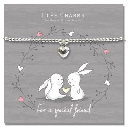 Life Charm Special Friend Rosey Rabbits Silver Heart Bracelet