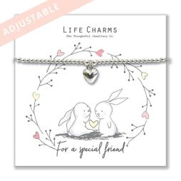 Life Charm Special Friend Rosey Rabbits Silver Heart Bracelet - Adjustable