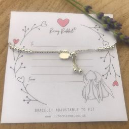 Life Charm Special Friend Rosey Rabbits Silver Heart Bracelet RR03