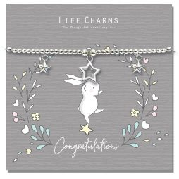 Life Charm Congratulations Rosey Rabbits Silver Star Bracelet