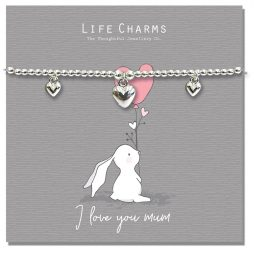 Life Charm I Love You Mum Rosey Rabbits Silver Hearts Bracelet