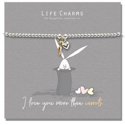 Life Charm I Love You More Than Carrots Rosey Rabbits Silver Heart Gold Carrot Bracelet RR06