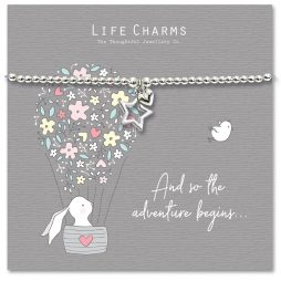 Life Charm So The Adventure Begins Rosey Rabbits Silver Star and Heart Bracelet RR07