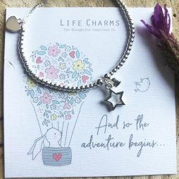 Life Charm So The Adventure Begins Rosey Rabbits Silver Star and Heart Bracelet