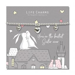 Life Charm Best Sister Ever Rosey Rabbits Silver Hearts Bracelet