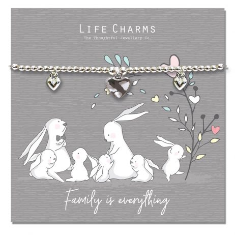 Life Charm Family Is Everything Rosey Rabbits Silver Hearts Bracelet