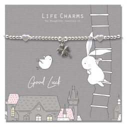 Life Charm Good Luck Rosey Rabbits Silver Bracelet
