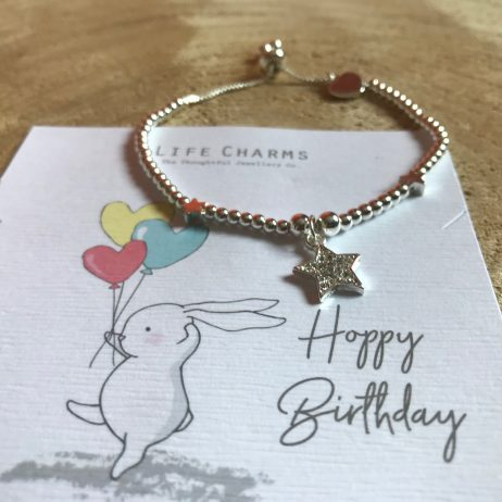 Life Charm Happy Birthday Silver Star Bracelet - Rosey Rabbits