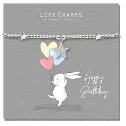 Life Charm Happy Birthday Rosey Rabbits Silver Star Bracelet