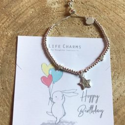 Life Charm Happy Birthday Silver Star Bracelet - Rosey Rabbits RR14