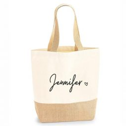 Personalised Large Tote Jute Shopping Bag with Name