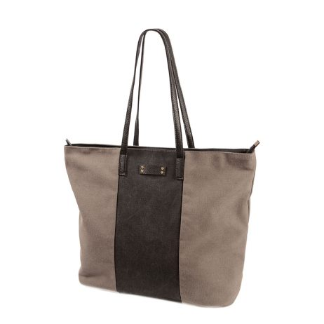 Hot Tomato Grey and Charcoal Stonewash Large Canvas Tote Shopper Bag