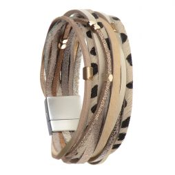 Hot Tomato Jewellery Snow Leopard Safari Print Wide Bracelet