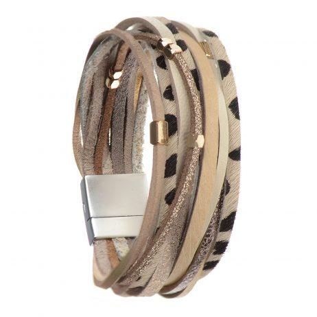 Hot Tomato Jewellery Snow Leopard Safari Print Wide Bracelet