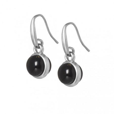 Sence Copenhagen Signature Black Agate Worn Silver Drop Earrings
