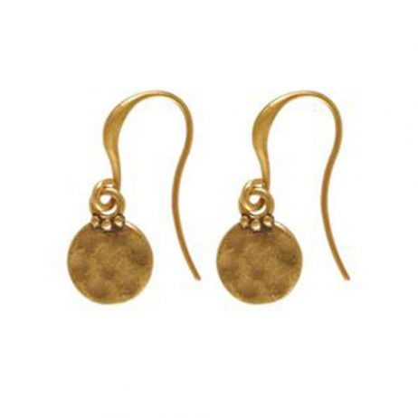 Hultquist Classic Gold Plated Mini Coin Hook Earrings