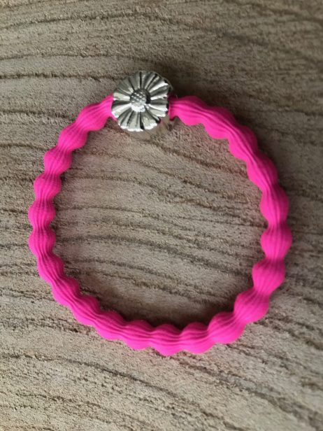 Lupe Daisy Charm 2 in 1 Hairband and Bracelet - Hot Pink Silver